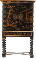 Furniture , An English Japanned Cabinet on Stand, late 19th century . 70 h x 40 w x 21 d inches (177.8 x 101.6 x 53.3 cm). ... (Total: 2 Items)