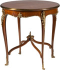 Furniture : French, A Gilt Bronze Mounted Mahogany Side Table with Parquetry Top, 19thcentury. 30 h x 29-1/2 d inches (76.2 x 74.9 cm). ...