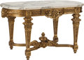 Furniture : French, A Régence-Style Carved Giltwood Salon Table with Marble Top, 20thcentury. 30-1/2 h x 52-3/4 w x 28-1/2 d inches (77.5 x 134...(Total: 2 Items)