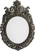 Decorative Arts, Continental:Lamps & Lighting, A Continental Patinated Bronze Oval Mirror Frame, 20th century. 52h x 31 w inches (132.1 x 78.7 cm). ...