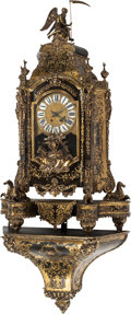Timepieces:Clocks, A Louis XIV Gilt Bronze Mounted Boulle Marquetry Bracket Clock, mid-late 19th century. 59-1/2 h x 25 w x 11-1/2 d inches (15... (Total: 2 Items)
