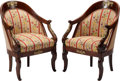 Furniture , A Pair of Louis Philippe Needlepoint Upholstered Mahogany Fauteuils with Gilt Bronze Mounts. 32-1/2 h x 22 w x 22 d inches (... (Total: 2 Items)