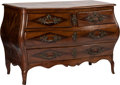 Furniture : French, A French Provincial Louis XV Walnut and Fruitwood Parquetry BombeCommode, mid 18th century. 32-1/2 h x 46-1/2 w x 21-1/2 d ...