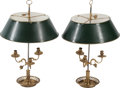 Decorative Arts, French:Lamps & Lighting, A Pair of French Bouillotte Three-Light Lamps with Tole Shades,20th century. 25-1/2 h x 16-1/2 d inches (64.8 x 41.9 cm). ...(Total: 2 Items)
