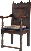 Furniture : Continental, A Charles II-Style Carved Oak Armchair, late 19th century. 46inches high x 22 inches wide x 19-1/2 inches deep (116.8 x 55....(Total: 2 Items)