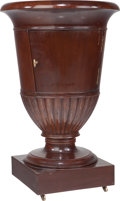 Furniture : Continental, A Biedermeier-Style Mahogany Wine Cabinet with Inset Marble Top,late 19th century. 29 inches high x 18 inches diameter (73....