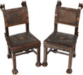 Furniture : English, A Pair of Renaissance Revival Oak and Leather Hall Chairs, 19th century. 40 h x 18 w x 16-1/2 d inches (101.6 x 45.7 x 41.9 ... (Total: 2 Items)
