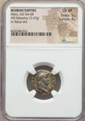 Ancients:Roman Imperial, Ancients: Nero (AD 54-68). AR denarius (3.47 gm). NGC ChoiceVF 5/5 - 4/5....