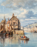 Fine Art - Painting, European:Antique  (Pre 1900), Charles Euphrasie Kuwasseg (French, 1833-1904). A harbor scenewith figures rowing a boat, 1866. Oil on canvas. 16 x 12-...
