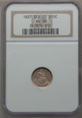 Seated Half Dimes, 1837 H10C No Stars, Large Date (Curl Top 1) AU58 NGC. NGC Census: (112/752). PCGS Population (81/494). Mintage: 1,405,000. ...