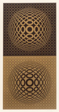 Fine Art - Work on Paper:Print, Victor Vasarely (French, 1906-1997). Tuz-Tuz, 1976. Screenprint in colors on wove paper. 35-1/2 x 17-3/4 inches (90.2 x ...