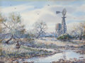 Works on Paper, Herb Booth (American, b. 1942). Windmill Pasture. Watercolor on paper. 10-1/2 x 14-1/4 inches (26.7 x 36.1 cm) (sight). ...