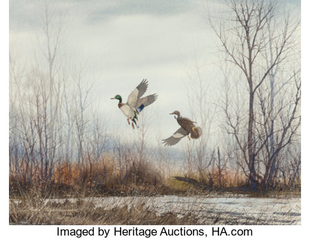 David Hagerbaumer (American, 1921-2014) Two Ducks in Flight, 1966 Watercolor on paper 16-1/4 x 21-1/4 inches (41.3 x ...
