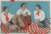 Donna Howell-Sickles (American, b. 1949) Three Cowgirls, 1992 Acrylic and charcoal on paper 40 x