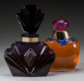 Art Glass:Other , Two Clear and Amethyst Glass Factice Bottles: Passion byElizabeth Taylor, late 20th century. 12-1/2 inches high...(Total: 2 Items)