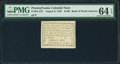 Colonial Notes:Pennsylvania, Pennsylvania August 6, 1789 $1/90 PMG Choice Uncirculated 64 EPQ.....