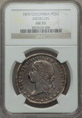 Colombia, Colombia: Republic Peso 1870 AU53 NGC,...