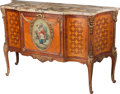 Furniture , A Louis XV-Style Gilt Bronze-Mounted Mahogany, Rosewood, and Fruitwood Marquetry Commode with Painted Cartouche, early 20th ...