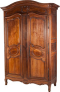 Furniture : French, A Monumental French Provincial Walnut Armoire, late 18th-mid 19thcentury. 105 h x 68 w x 26 d inches (266.7 x 172.7 x 66.0 ...(Total: 2 Items)