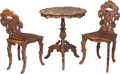 Furniture : Continental, A Kehrli Brothers Carved Walnut Wine Tasting Table and Chairs, circa 1870. 29-3/4 inches high x 25-1/8 inches wide (75.6 x 6... (Total: 3 Items)
