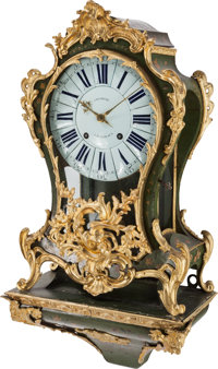 A Louis XV-Style Painted and Gilt Bronze-Mounted Bracket Clock, late 18th-19th century Marks to clock face: CHA