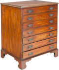 Furniture , A Walnut Seven-Drawer Map Chest, 20th century. 40 h x 34-1/4 w x 26 d inches (101.6 x 87.0 x 66.0 cm). ...
