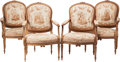 Furniture : French, A Set of Four Louis XVI-Style Aubusson Upholstered WalnutFauteuils, 19th century. 38-1/2 h x 24 w x 25 d inches (97.8 x61.... (Total: 4 Items)