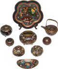 Asian:Japanese, A Group of Nine Japanese Cloisonné Table Articles, Meiji Period. 4h x 6 w x 4 d inches (10.2 x 15.2 x 10.2 cm) (largest jar...(Total: 9 Items)