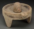 Judaica:Archaeology, JUDAEA. Hellenistic - Roman era, circa 300 BCE -100 CE. Stone mortar and pestle.... (Total: 2 Items)