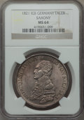 German States:Saxony, German States: Saxony. Friedrich August I Taler 1821-IGS MS64 NGC,...
