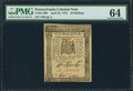 Colonial Notes:Pennsylvania, Pennsylvania April 25, 1776 10s PMG Choice Uncirculated 64.. ...