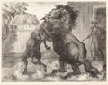 Prints, John Steuart Curry (American, 1897-1946). Stallion and Jack Fighting, 1943. Lithograph. 11-3/4 x 15-1/2 inches (29.8 x 3...