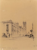 "Fine Art - Work on Paper:Drawing, Edward Muegge ""Buck"" Schiwetz (American, 1898-1984). SanFernando Cathedra, San Antonio, from Courthouse Square, 1927.P..."