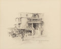 """Works on Paper, Edward Muegge """"Buck"""" Schiwetz (American, 1898-1984). Old Hotel and market - Dallas, 1926. Pencil on paper. 8-5/8 x 10-5/..."""