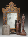 Decorative Arts, Continental:Other , A Baroque Mirror, Medieval Stone Stele, and Carved ReligiousFigures, 18th-19th century. 17-1/2 x 11 inches (44.5 x 27.9 cm)...(Total: 4 Items)