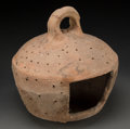 Judaica:Archaeology, JUDAEA. Late Roman era, circa 300-500 CE. Terracotta hanginglantern....