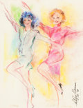 Fine Art - Painting, American:Contemporary   (1950 to present)  , LeRoy Neiman (American, 1921-2012). Rockettes: Terry andMary, November 18, 1988. Pastel on paper. 23-1/2 x 17 inches(5...