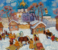 Moissey Kogan (Russian, 1924-2001) Winter Scene Oil on canvas 25-3/4 x 30 inches (65.4 x 76.2 cm)
