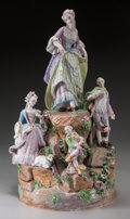 Ceramics & Porcelain, Continental:Antique  (Pre 1900), A Large Dresden-Style Porcelain Figural Group, late 19th century. Pseudo-Meissen marks: (crossed swords-asterisk in blue und...