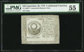 Colonial Notes:Continental Congress Issues, Continental Currency September 26, 1778 $30 Blue Paper CounterfeitDetector PMG About Uncirculated 55.. ...