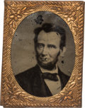 Political:Ferrotypes / Photo Badges (pre-1896), Abraham Lincoln: Gem-sized 1864 Lincoln Tintype with Very RarePose....