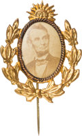 Political:Ferrotypes / Photo Badges (pre-1896), Abraham Lincoln: A Most Unusual, Fancy 1864 Photo Badge....