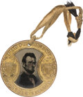 Political:Ferrotypes / Photo Badges (pre-1896), Lincoln/Johnson: Impressive and Distinctive Large 1864 CampaignFerrotype....