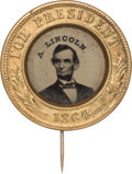 Political:Ferrotypes / Photo Badges (pre-1896), Abraham Lincoln: 1864 Lincoln Campaign Ferrotype....