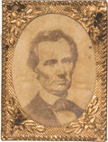 Political:Ferrotypes / Photo Badges (pre-1896), Abraham Lincoln: Rare 1864 Lincoln Beardless Photo in Gem Frame....