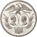 Political:Tokens & Medals, Abraham Lincoln: The Largest 1864 Election Medal, and a Lincoln-Johnson Jugate....