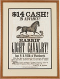 Miscellaneous:Broadside, Harris Light Cavalry Recruiting Broadside....