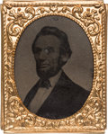 Political:Ferrotypes / Photo Badges (pre-1896), Abraham Lincoln: Large Size Bearded Tintype Image....