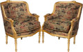 Furniture : French, A Pair of Louis XVI-Style Giltwood Bergères with Chinoiserie MotifUpholstery, 20th century. 28-1/4 h x 29 w x 21 d inches (...(Total: 2 Items)