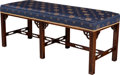 Furniture : Continental, A Chinese Chippendale-Style Upholstered Mahogany Bench, 20thcentury. 19-1/2 h x 48 w x 18-1/4 d inches (49.5 x 121.9 x 46.4...